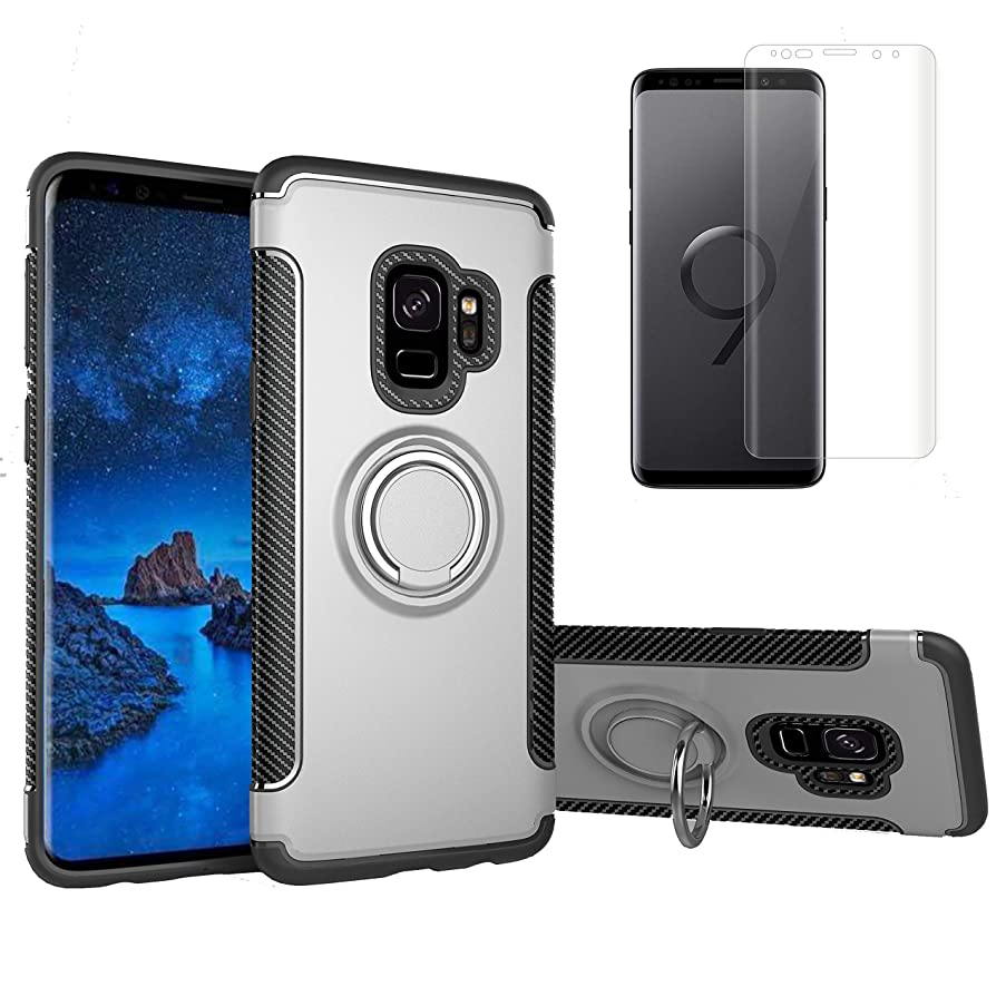 for Samsung Galaxy S9 Plus Case and Screen Protector,OYIME [Soft Rubber+Hard Plastic] Dual Layer Hybrid Design 360 Degree Rotating Ring Holder Stand Magnetic Car Mount Back Cover Drop Proof-Silver
