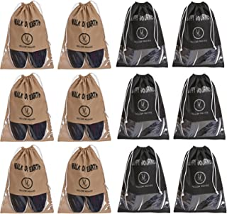 Yellow Weaves™ Shoe Pouch/Cover/Bag/Organiser, Beige & Black Color - Set of 12