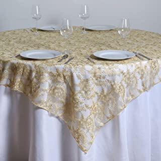 72x72 Inch Floral Lace Table Overlay Wedding Linens Tablecloths Wholesale Champagne Leila003
