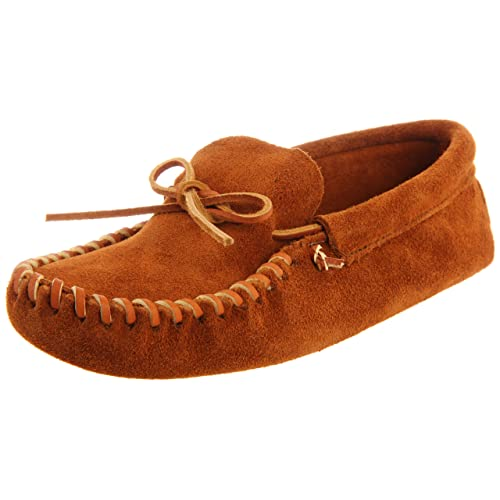 Minnetonka Mens Leather Laced Softsole Moccasin Brown