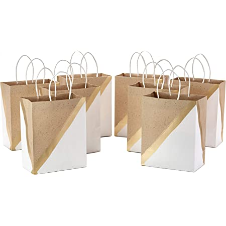 """Hallmark 9"""" Medium Paper Gift Bags (Pack of 8 - White & Kraft) for Christmas, Birthdays, Weddings, Easter, Mothers Day, Graduations, Baby Showers, Bridal Showers, Care Packages"""