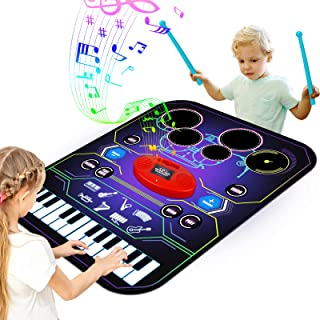 Apsung 2-in-1 Music Lam Playmat with Drum & Keyboard Piano Comb Play Mat Music Dance Mat for Child, Early Educational Toys...