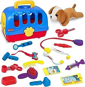 Kidzlane Deluxe Veterinarian Kit for Kids and Toddlers   Pretend Play Vet Set for Kids   Pet Vet Playset   Toy Pet Carrier for Little Girls and Boys