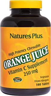 NaturesPlus Orange Juice Chewable Vitamin C - 250 mg, 180 Vegetarian Tablets - High Potency Immune Support Supplement, Antioxidant - Gentle On Stomach - Gluten-Free - 180 Servings