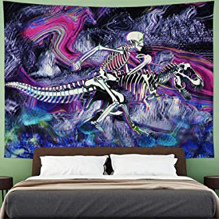 Psychedelic Skull Tapestry Hippie Dinosaur Tapestry Trippy Skeleton Tapestry Abstract Sketched Tapestry Colorful Mushroom Tapestry Wall Hanging for Bedroom H70×W92