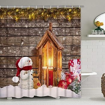 Christmas Room Fireplace Tree Lights Shower Curtain Bathroom Fabric /& 12hooks