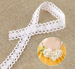 ABSOFINE 15M Vintage Spitzenband Borte aus Baumwolle Dekoband Zierband Spitzenstoff Spitzenborte für Nähen Handwerk Hochzeit Deko Scrapbooking Geschenkbox Weiss