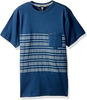 Volcom Men's Short Sleeve Threezy Crew Shirt, Smokey Blue, S