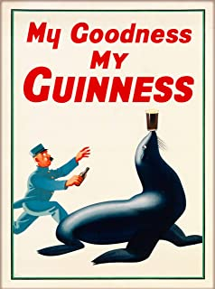 A SLICE IN TIME My Goodness My Guinness Beer Seal 2 Dublin Ireland Great Britain United Kingdom Vintage Travel Home Collectible Wall Decor Advertisement Art Poster Print. Measures 10 x 13.5 inches