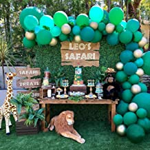 Safari Jungle Theme Balloon Garland Arch Kit 16Ft Long 100pcs Green and Gold Balloons for Kids Boys Baby Shower Birthday Party Backdrop Decorations