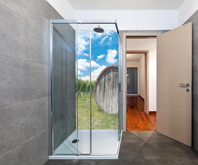 Wandmotiv24 Duschrückwand Weinfass in der Toskana 90 x 200cm (B x H) - Plexiglas 4mm Duschwand Design, Keine Fugen M0873