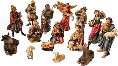 "15-Piece Nativity Figurine Set. Hand-Painted Christmas Nativity Scene, 4"" Tall."