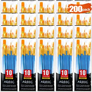 Acrylic Paint Brush Set, (20 Packs /200 pcs) Nylon Hair Brushes for Oil and Watercolor, Perfect Suit of Art Painting, Best Gift for Painting Enthusiasts.
