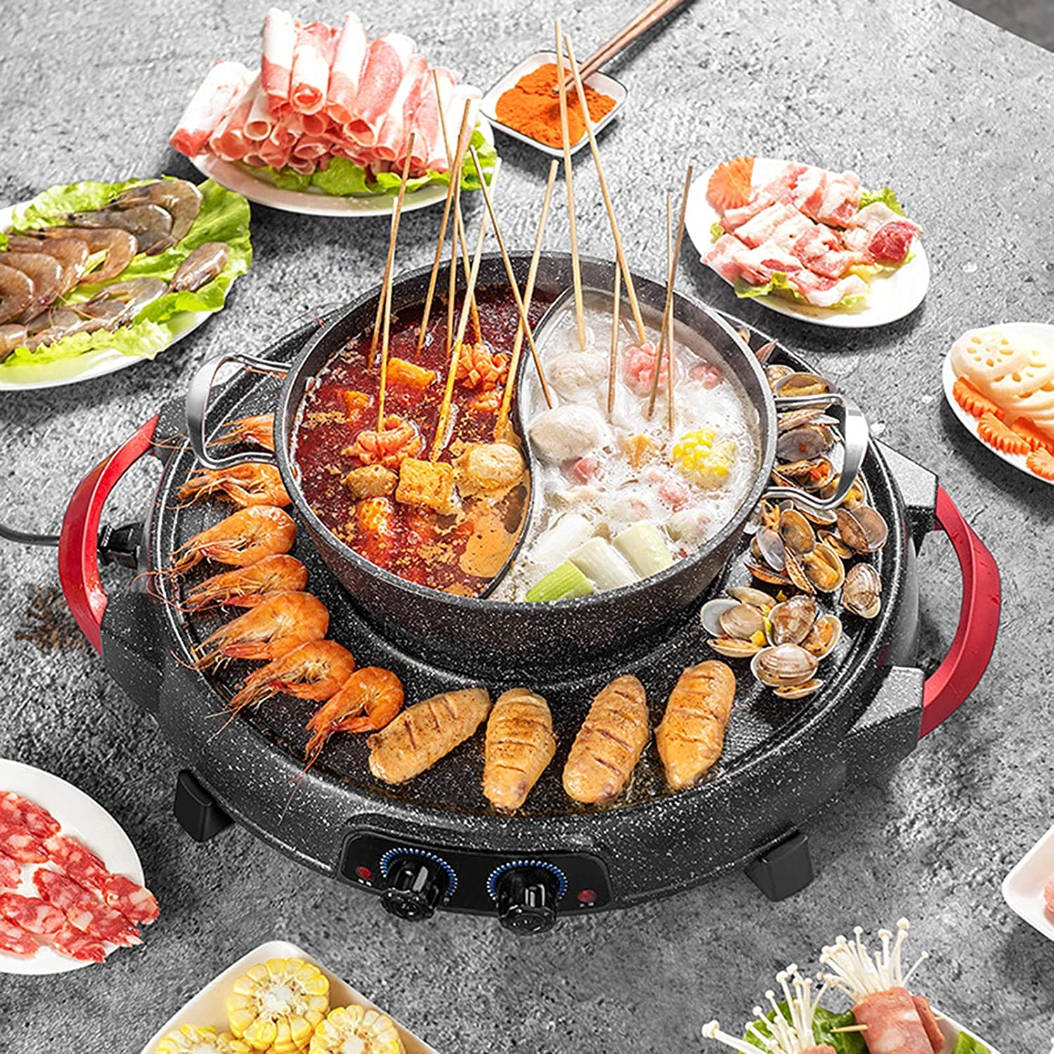 2300W BBQ Grill with Hot Popular products Pot 2 in and 1 Electric Indoor Sh Max 71% OFF