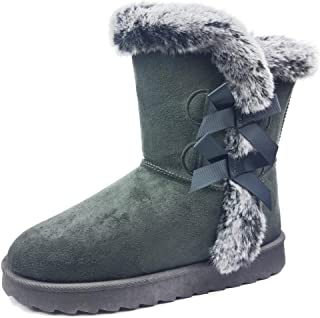 Womens Soft Fur Lined Warm Winter Boot Mid Calf Faux Suede Girls