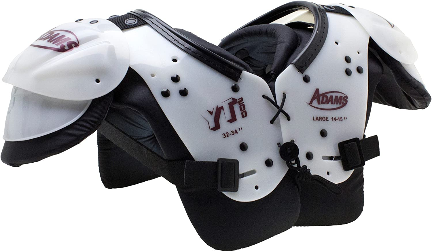 ADAMS USA Youth Yt200 Blocker Shoulder Pads White Maroon, X-Large : Sports & Outdoors
