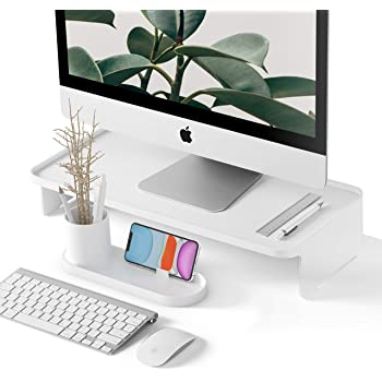 Monitor Riser | with Pen & Phone Organizer | Zero Assembly | Modern Design | Desk Monitor Stand for iMac, Desktop Computer Monitors - White