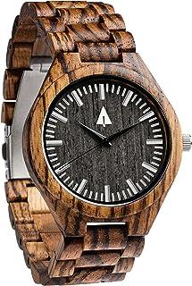 Treehut Men's Zebrawood Wooden Watch with All Zebrawood Wood Strap Quartz Ana.