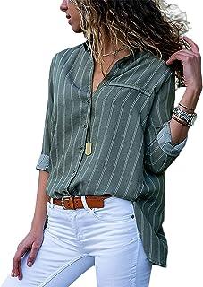 42965039a9 Blibea Womens V Neck Striped Chiffon Blouses Long Sleeve Button Down Shirts  Top