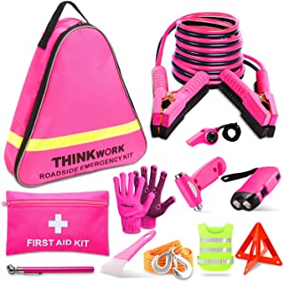THINKWORK Car Emergency Kit for Teen Girl and Lady's Gifts, Pink Emergency Roadside Assistance kit with 10FT Jumper, First Aid Kit, Safety Hammer, Tow Rope, and More Ideal Pink Car Accessories Tool