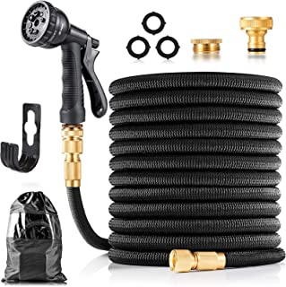 """Expandable Garden Hose 100FT, Flexible Water Pipe with 8 Function Spray Nozzle, 3/4"""" 1/2"""" Brass Fittings, Storage Bag, Hos..."""