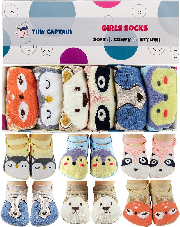 Tiny Captain Baby Toddler Girls Grip Socks Gripper Straps Ages 0-5 Year Old Gift Newborn Infant Anti Slip Socks