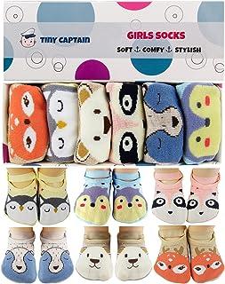جوارب قبضة صغيرة للفتيات الصغار من Tiny Captain أشرطة قبضة للأعمار 0-5 سنوات هدية لحديثي الولادة جوارب مضادة للانزلاق