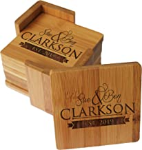 Custom Engraved Bamboo Wood Coasters - Personalized Coaster Set for Drinks, Weddings, Couples with Holder - Monogrammed for Free (Square Bamboo)