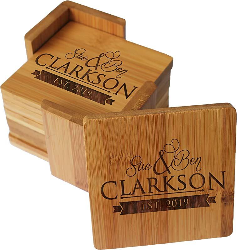 Custom Engraved Bamboo Wood Coasters Personalized Coaster Set For Drinks Weddings Couples With Holder Monogrammed For Free Square Bamboo