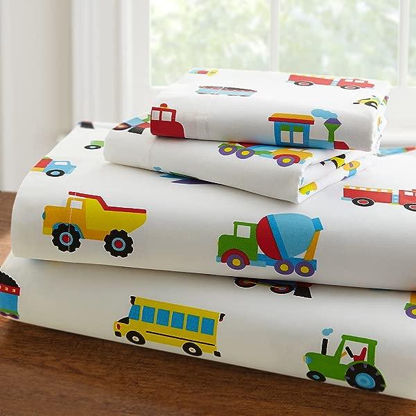 Wildkin Cotton Sheets Twin Trains Planes Trucks