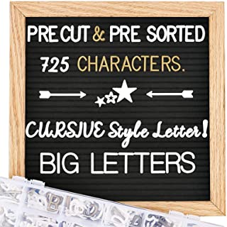 Felt Letter Board with Letters - Pre Cut & Sorted 725 White & Gold Characters, Cursive Style Letters, Big Letters, Changea...