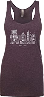 Women's Graphic Racerback Tank Top, Downtown Historic Asheville, Vintage Purple or Vintage Black