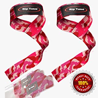 Rip Toned Lifting Straps (Pair) - Normal or Small Wrists - Bonus Ebook - Cotton Padded - Weightlifting, Xfit, Bodybuilding, Strength Training, Powerlifting
