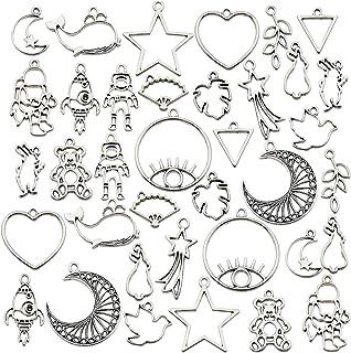 70PCS Bezel Charms Pendants Open Back Bezel Pendants Hollow Mold Pendants Assorted Geometric Hollow Pressed Flower Frame Pendant DIY Crafts for Resin Earrings Necklace Bracelet (M333)