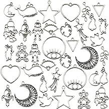 70PCS Bezel Charms Pendants Open Back Bezel Pendants Hollow Mold Pendants Assorted Geometric Hollow Pressed Flower Frame Pendant DIY Crafts for Resin Earrings Necklace Bracelet M333