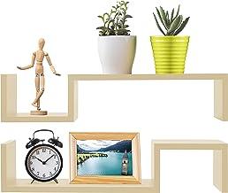Greenco Set of 2 Decorative S Shaped Wall Mounted Floating shelves- Natural Finish