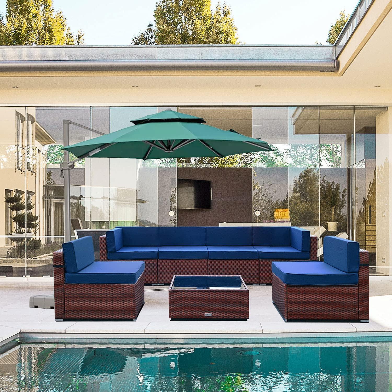 MAXXPRIME 7 San Diego SALENEW very popular! Mall Pieces Patio Outdoor PE Furniture Rattan Sets Wicke