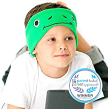 CozyPhones Kids Headphones Volume Limited with Ultra-Thin Speakers Soft Fleece Headband - Perfect Children's Earphones for Home and Travel - Green Froggy