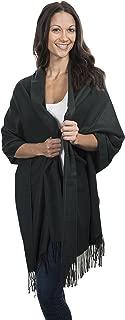 羊绒 & Class 大号柔软舒适羊绒羊绒披肩编织围巾 女式保暖披肩 + 礼品盒