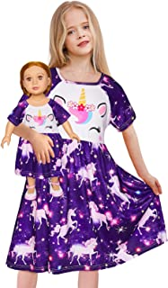 "Doll and Girl Matching Nightgown Unicorn Outfit Night Dress for Girls and 18"" Dolls"