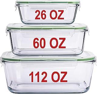 حاويات زجاجية كبيرة لتخزين الطعام مع أغطية حاوية وخبز، مجموعة أطباق تخزين زجاجية مع غطاء غلق مجموعة 3 عبوات بحجم 3.17 أونص...