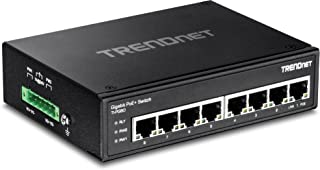 TRENDnet 8-Port Hardened Industrial Unmanaged Gigabit PoE+ DIN-Rail Switch, 200W Full PoE+ Power Budget, 16 Gbps Switching Capacity, Lifetime Protection, TI-PG80