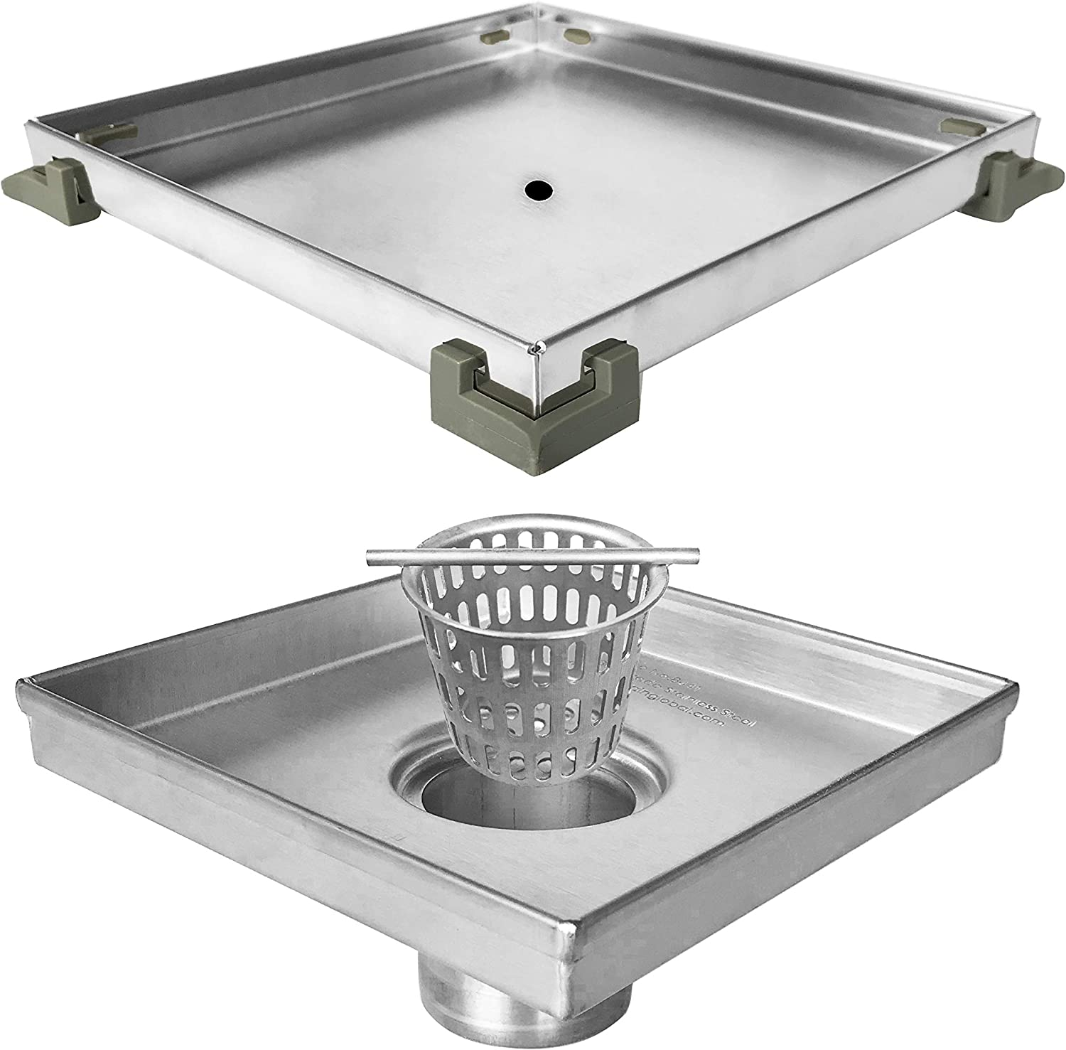 Neodrain ZS3T0106 Square Shower Drain with Tile insert Grate, 6-Inch, Brushed 304 Stainless Steel