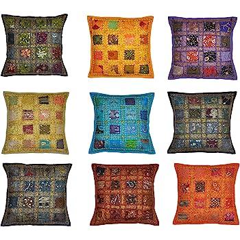 10 Pc Lot Square Silk Home Decor Cushion Cover, Indian Silk