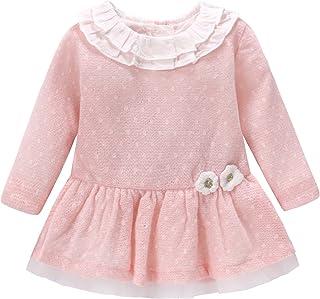 Mornyray ベビー服 ドレス ワンピース 長袖 幼児 女の子 キッズ フリル コットン size 80 (ピンク)
