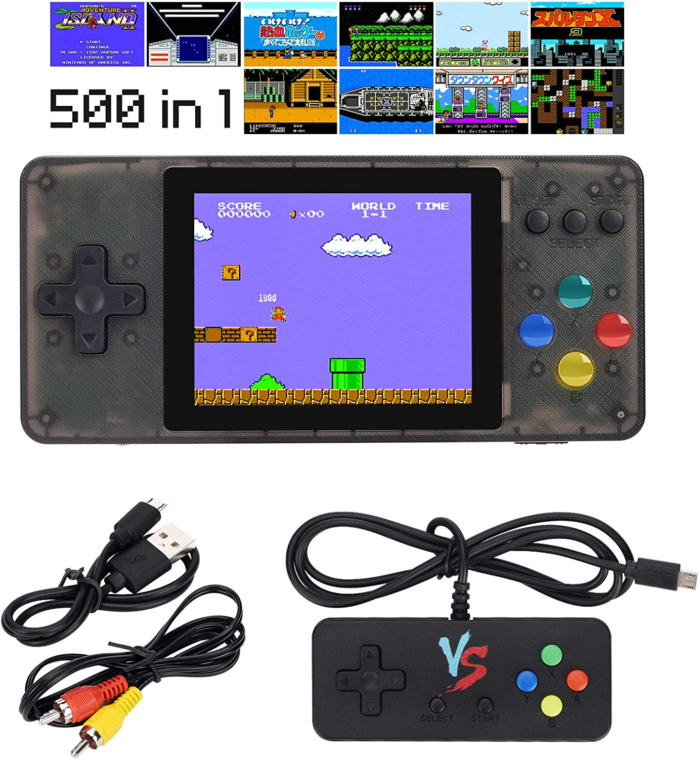 HAndPE Handheld Game Console, Retro Mini Game Player with 500 Classical FC Games 3-Inch Color Screen Support for Connecting TV & Two Players 1020mAh Rechargeable Battery Present for Kids and Adult