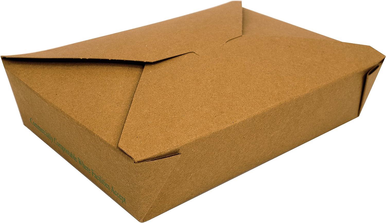 Fold-Pak 02BPTRAIIM BioPlus Terra II Food Container, Paper Compostable, 7-3 4  Length x 5-1 2  Width x 1-7 8  Height, 49 fl. oz. Capacity, 2, Kraft (Pack of 200)