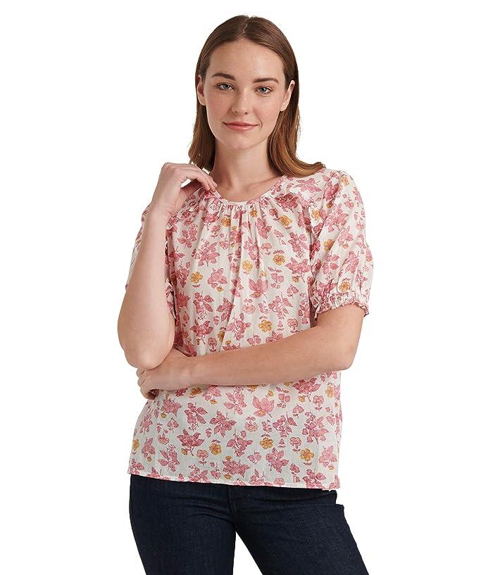 Lucky Brand  Short Sleeve Crew Neck Lauren Ruffle Top (Pink Multi) Womens Clothing