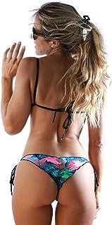 KIIONDA - Conjunto de Bikini de triángulo Ondulado brasileño Sexy para Mujer con Tirantes Convertibles