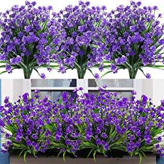 Leixi Artificial Flowers, 6pcs Fake Outdoor UV Resistant Plants Faux Plastic Greenery Shrubs Indoor Outside Hanging Plante...